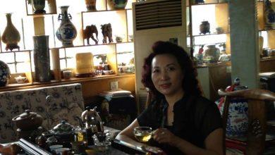 Çin'in Cangzhou Şehrinde Bir Çay Mağazası