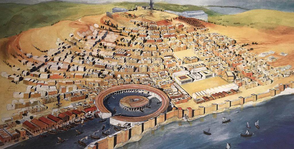 Tarihi Kartaca şehri ve limanı